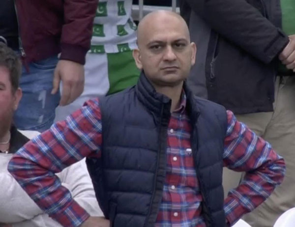 Disappointed bald man standing - disappointed cricket fan meme