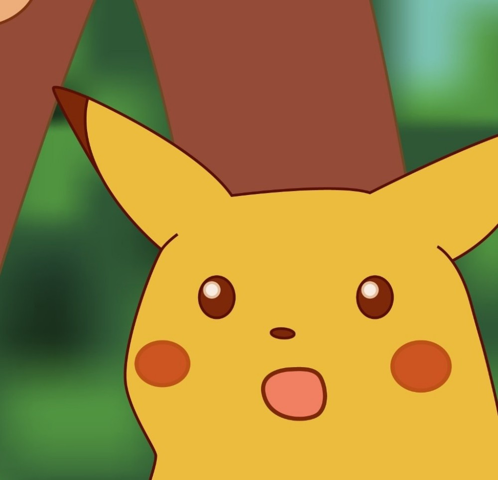 Pikachu's surprised face HD version