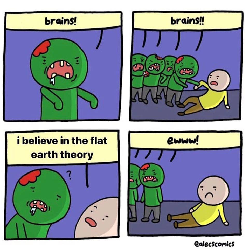Zombies don't eat brains believing in flat earth theory