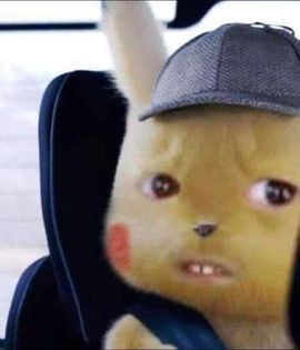 Confused Pikachu wearing a hat