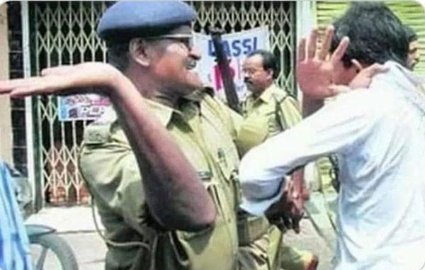 Indian police slaps a man for breaking lockdown rule