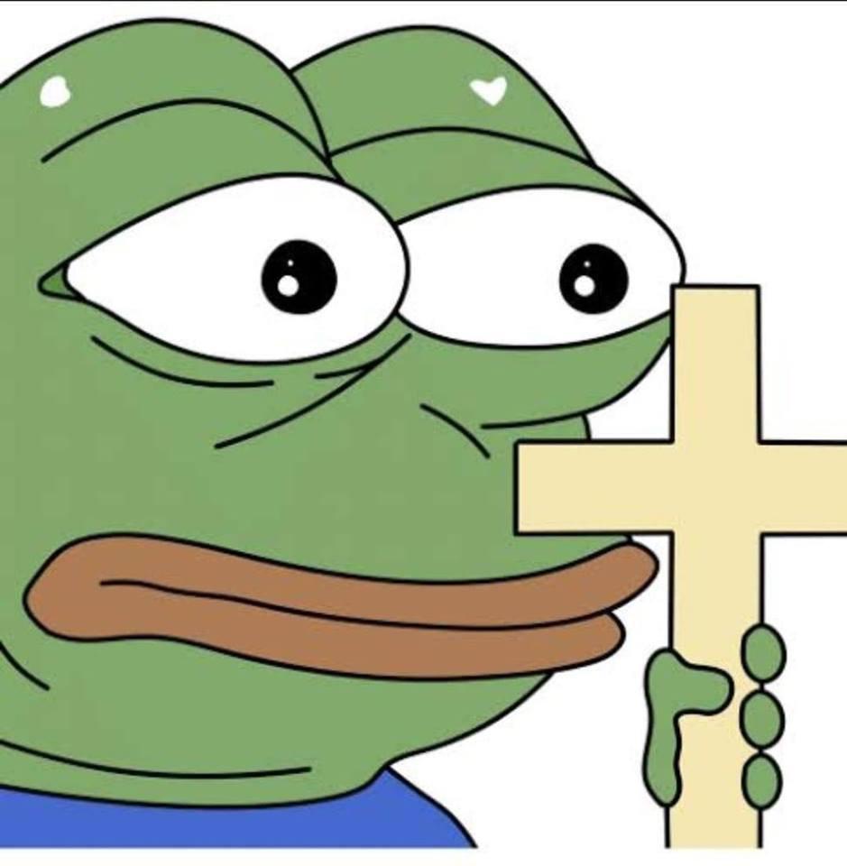 Pepe holding a cross