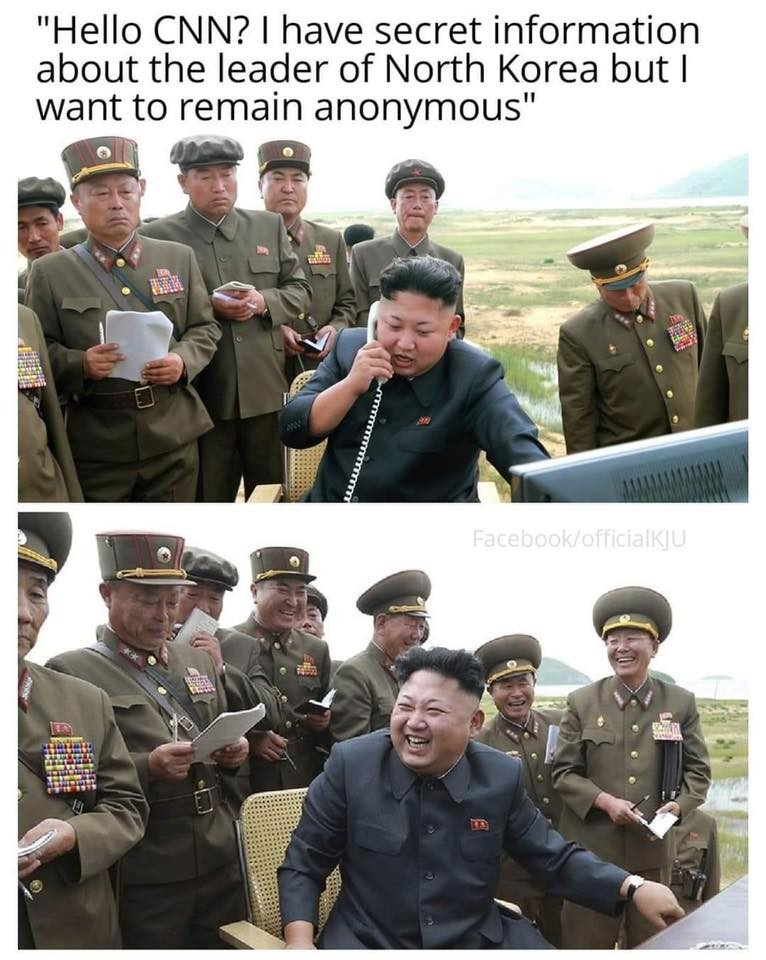 Kim Jong Un calling CNN to report secret information meme