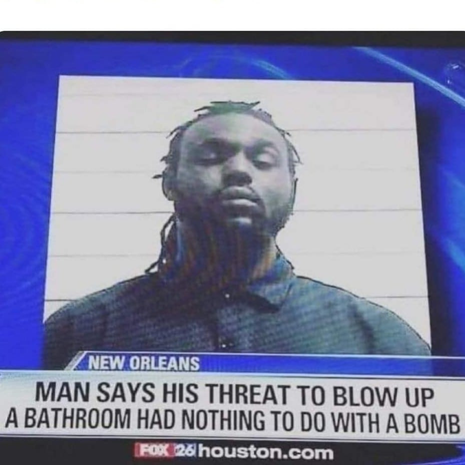 Man says his threat to blow up a bathroom had nothing to do with a bomb