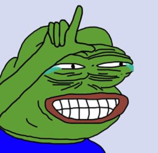 Pepe the frog crying and pointing upward
