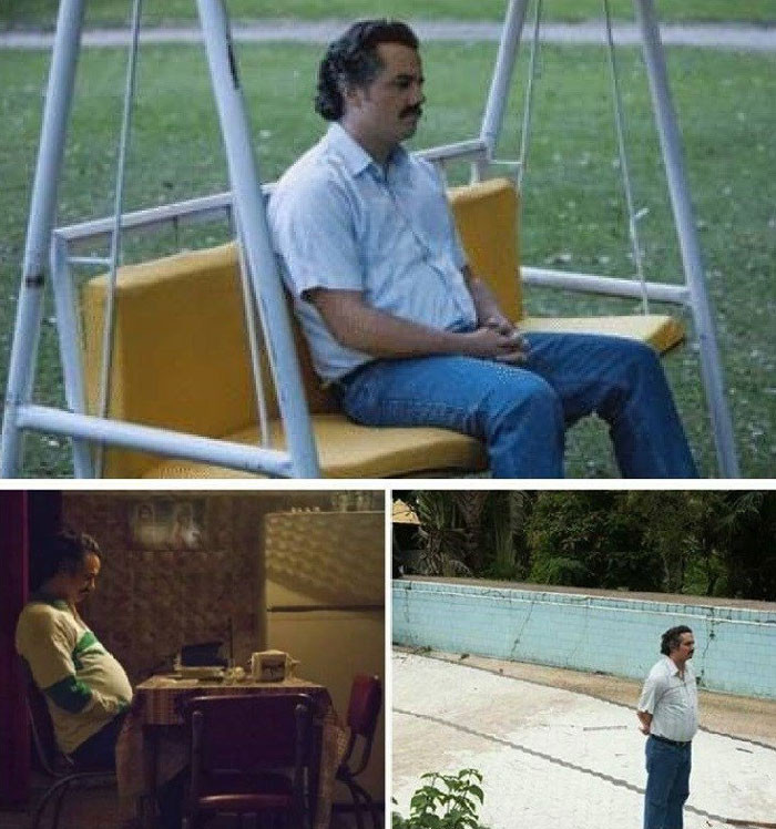 Sad lonely man - Narcos waiting meme