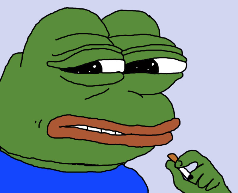 Pepe the Frog holding a cigarette meme