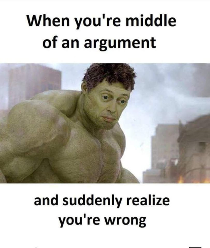 When you're middle of an argument and suddenly realize you're wrong