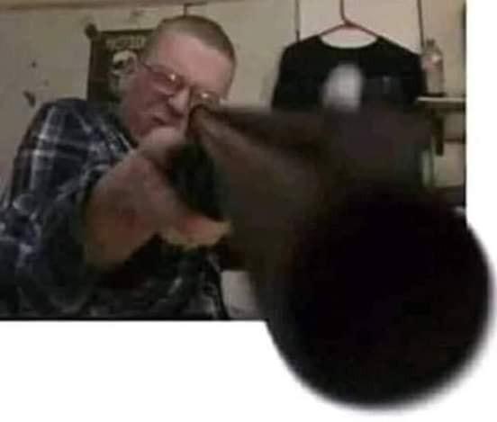 Man pointing a gun real close to camera - big gun barrel meme