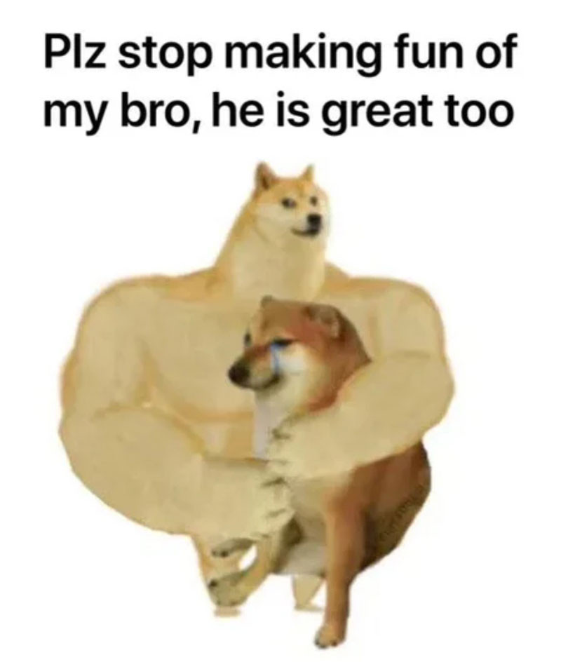 Swole Doge hugging Cheems meme: Plz stop making fun of my bro