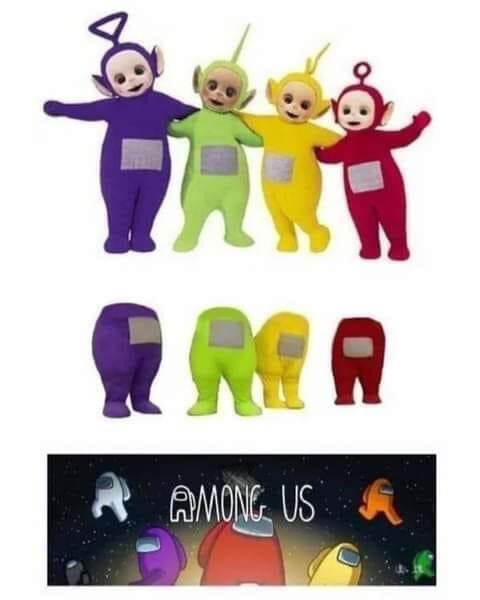 Among Us game characters origin from Teletubbies meme: Tinky Winky, Dipsy, Laa-Laa, Po