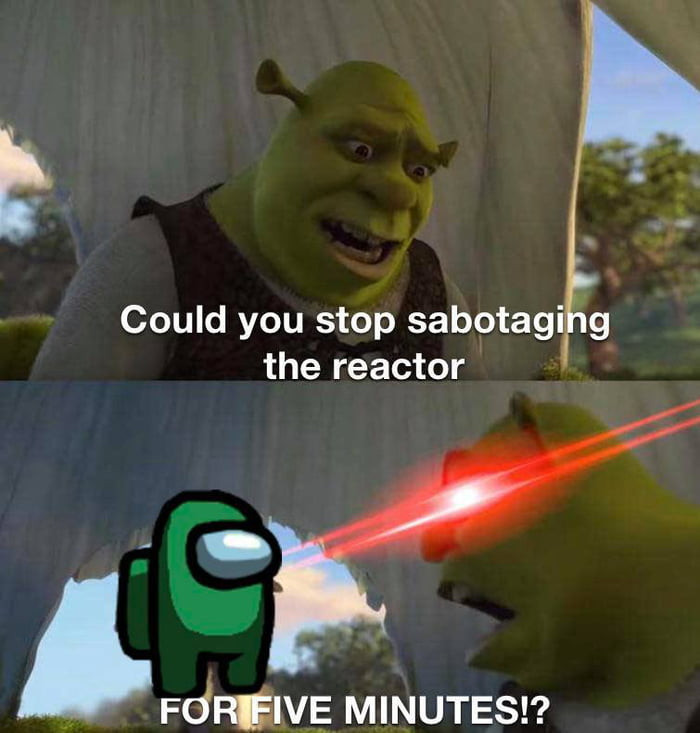Could you stop sabotaging the reactor for five minutes - Shrek angry meme