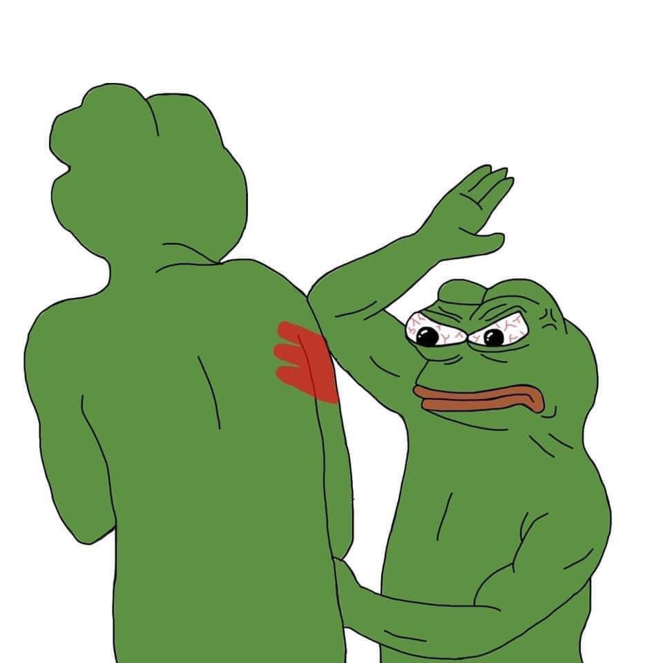Pepe the frog slapping his friend and leaving red palm mark