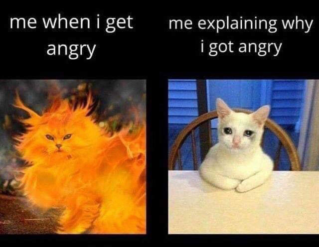 Me when I get angry vs when explaining why I got angry