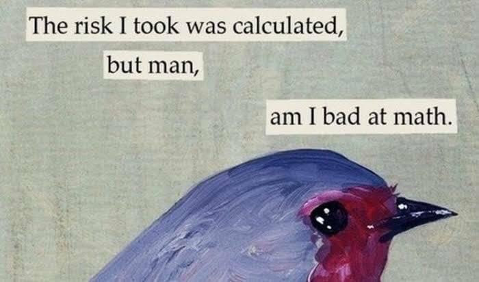 The risk I took was calculated, but man, I am bad at math - crying bird meme