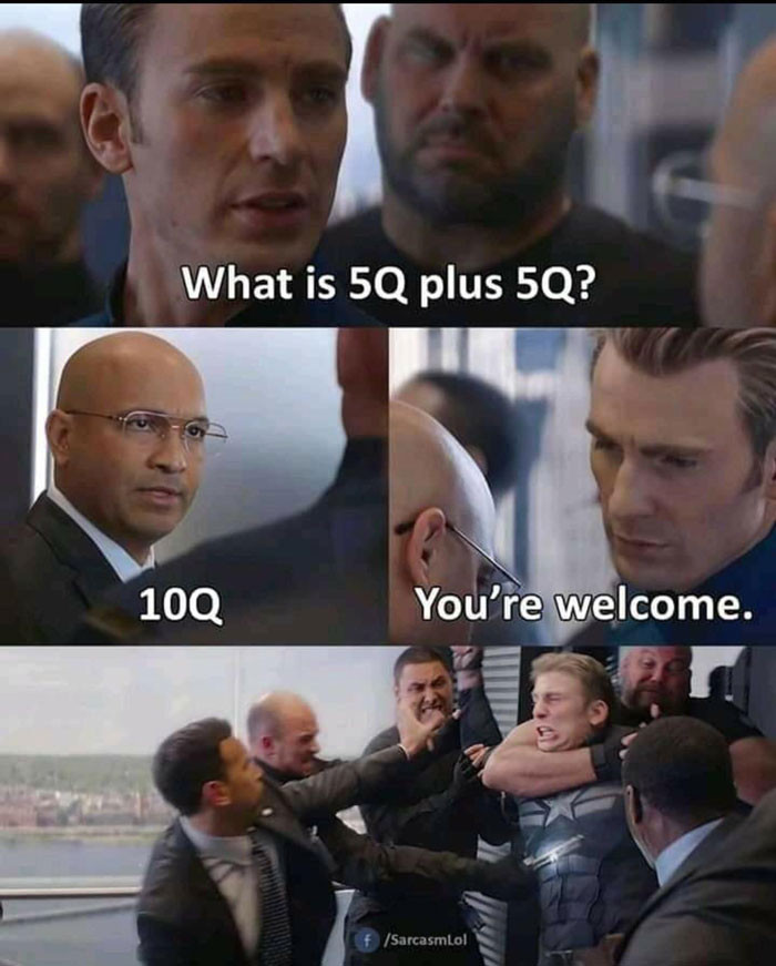 What is 5Q plus 5Q? 10Q thank you meme