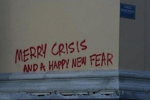 Merry crisis and happy new fear meme
