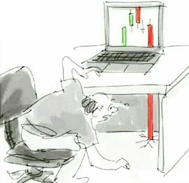 Crypto or stock index red candle falling through laptop, desk and ground meme