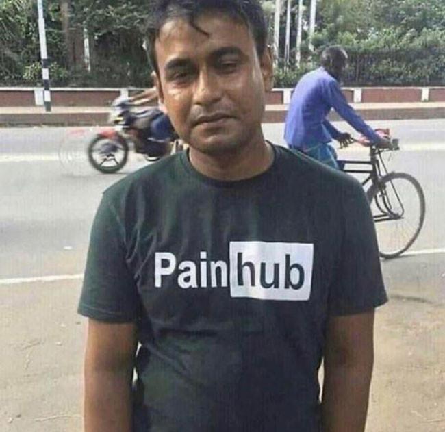 Guy wearing Pain Hub T-shirt meme
