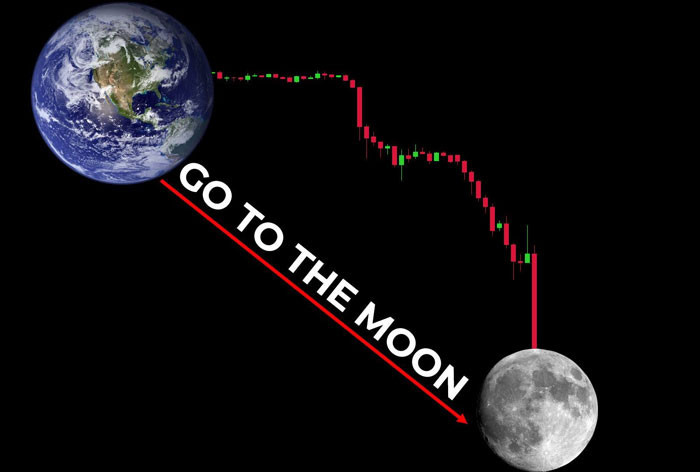 Stock chart 'Go to the moon' with the moon below the earth meme