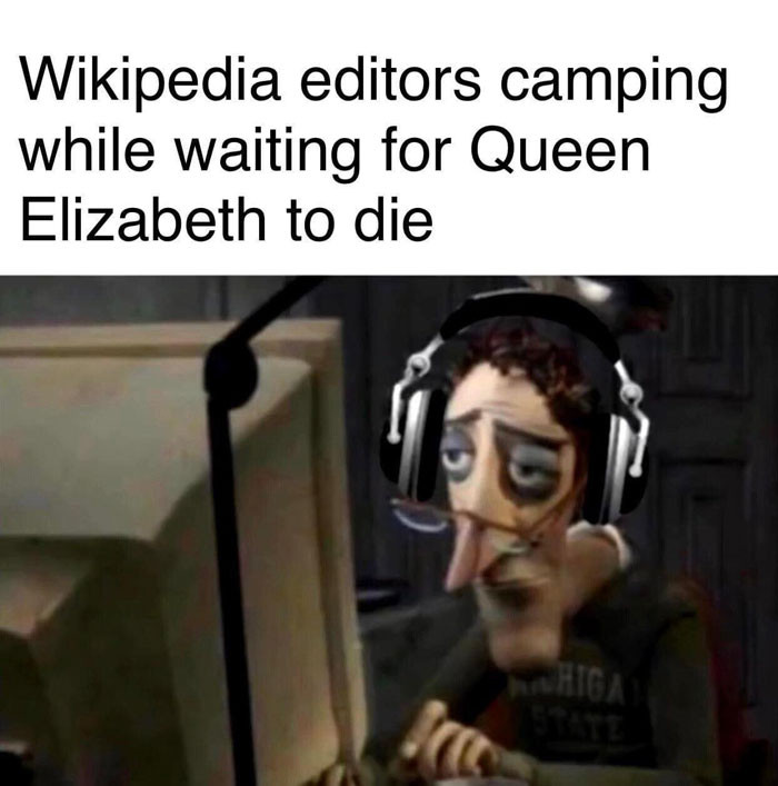 Wikipedia editors camping while waiting for Queen Elizabeth to die