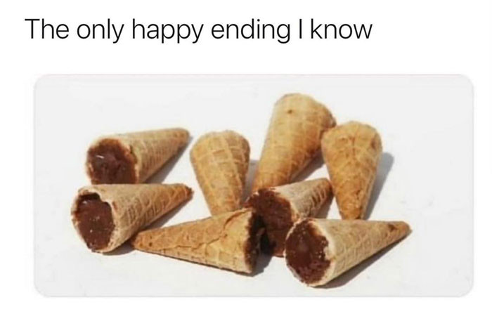 The only happy ending I know - ice cream meme