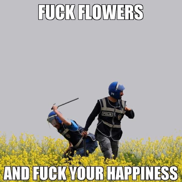 Fuck flowers and fuck your happiness - police beating flowers meme