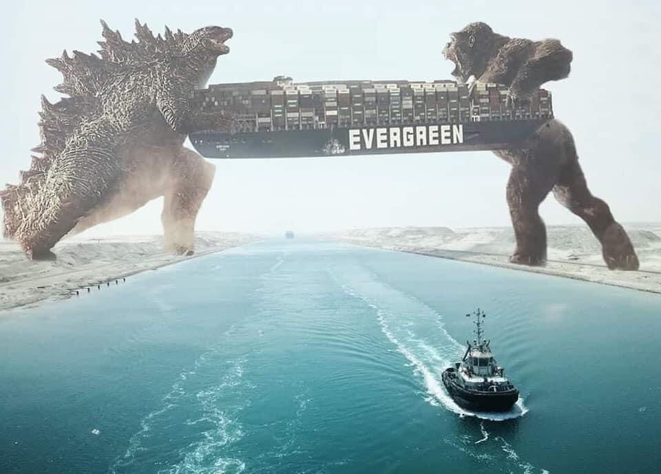 Godzilla and Kong rescue Ever Given ship meme