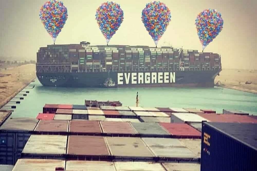 Many balloons to help lifting Ever Given ship out of Suez canal meme