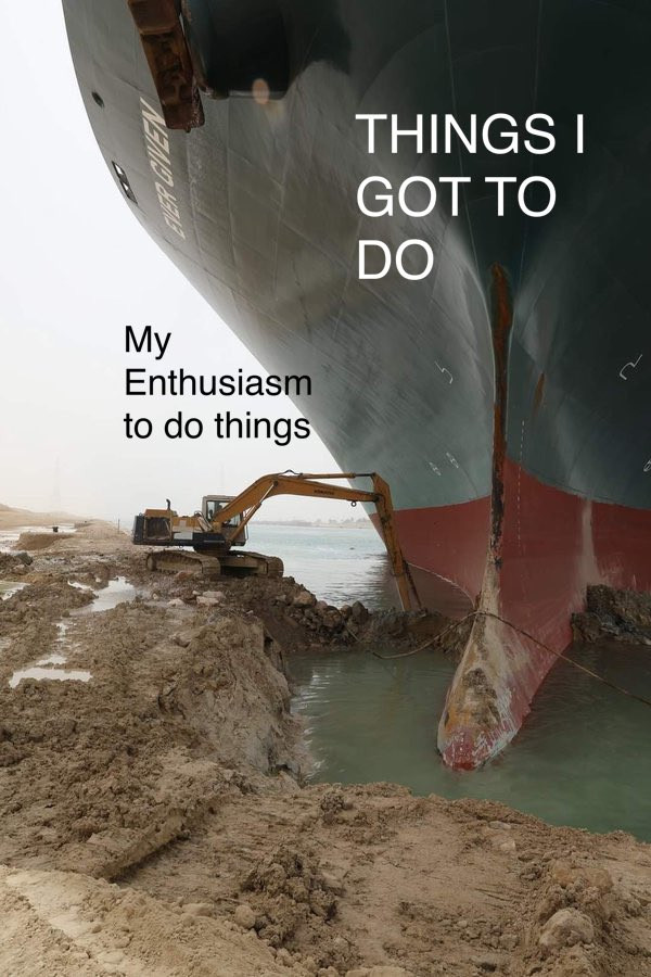 Things I got to do vs My enthusiasm to do things Suez ship crisis meme