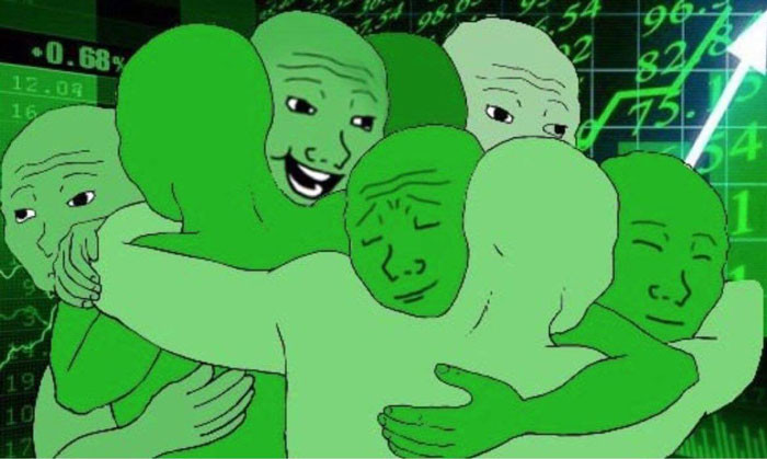 Many fell guys hugging each other when stocks or crypto coins go up