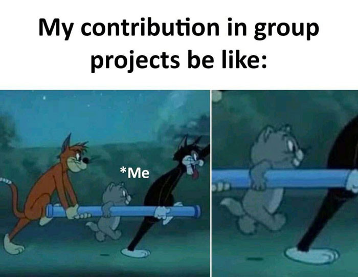 My contribution in group projects be like - lifting Tom cat meme