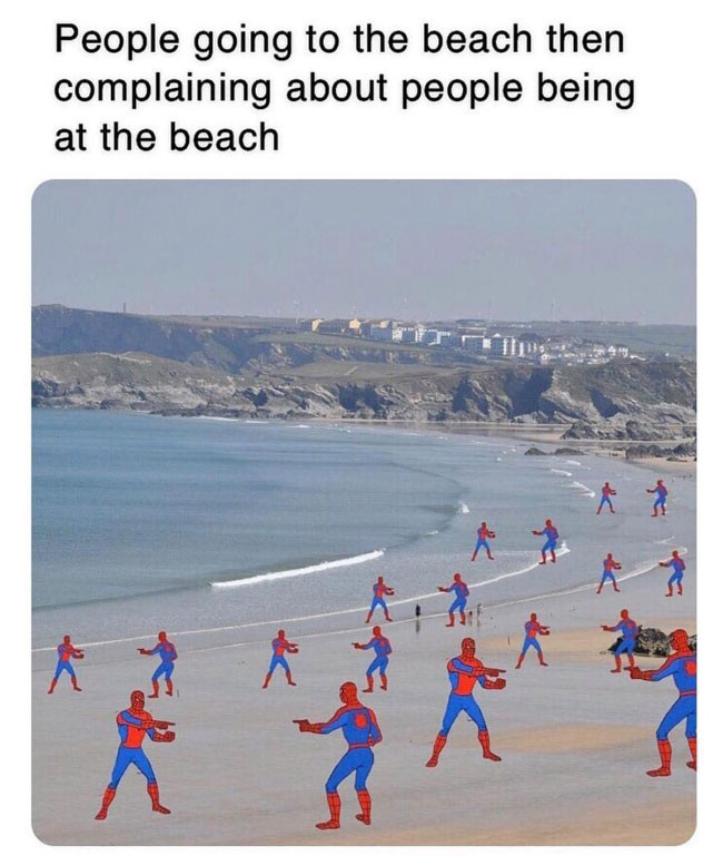 People going to the beach then complaining about people being at the beach Spider-man meme