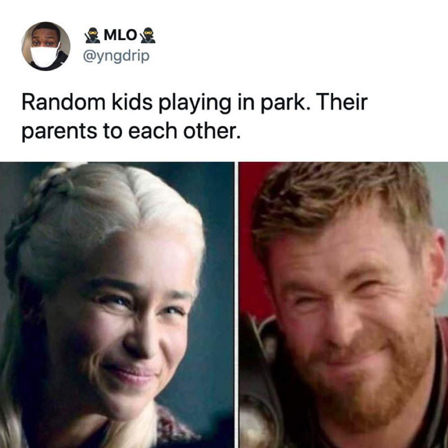 Random kids playing in part. Their parents smile to each other meme.
